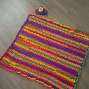 Other - Beautiful Bright Baby Blanket with Matching Hat